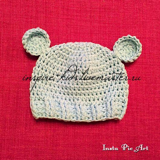 """Для новорожденных, ручной работы. Ярмарка Мастеров - ручная работа. Купить Шапочка """"Медвежонок"""". Handmade. Шапочка с ушками, шапочка для девочки"""