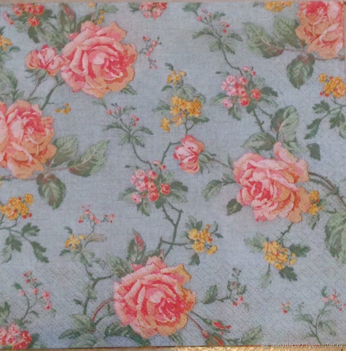 551.  Napkin for decoupage Roses on turquoise, Napkins for decoupage, Ramenskoye,  Фото №1