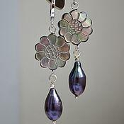 Украшения handmade. Livemaster - original item Flower earrings with carved mother of pearl and natural purple pearls. Handmade.