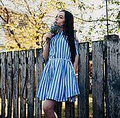 Одежда ручной работы. Ярмарка Мастеров - ручная работа Льняное платье Полосатый рейс. Handmade.