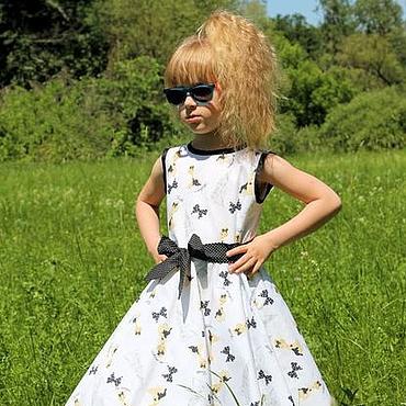 Работы для детей, ручной работы. Ярмарка Мастеров - ручная работа Белое нарядное платье для девочки в стиле 50-х годов. Handmade.