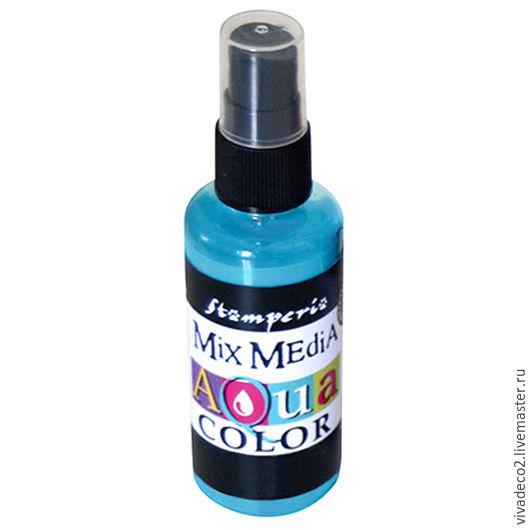 new! Краска - спрей `Aquacolor Spray `для техники `Mix Media`арт KAQ016    небесно-голубой  2/0