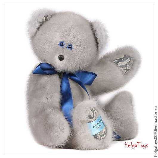 """Мишки Тедди ручной работы. Ярмарка Мастеров - ручная работа. Купить Мишка """"Шинджи"""" из норки. Handmade. Голубой, подарок девушке"""