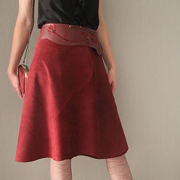 Одежда ручной работы. Ярмарка Мастеров - ручная работа Юбка из замши цвета марсалы. Handmade.