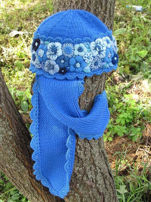 """Шапки ручной работы. Ярмарка Мастеров - ручная работа. Купить синяя вязаная шапочка """"Снежка"""". Handmade. Шапочка вязанная, вышивка"""
