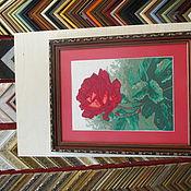 Картины и панно ручной работы. Ярмарка Мастеров - ручная работа Вышивка крестиком Роза. Оформленна в багет.. Handmade.