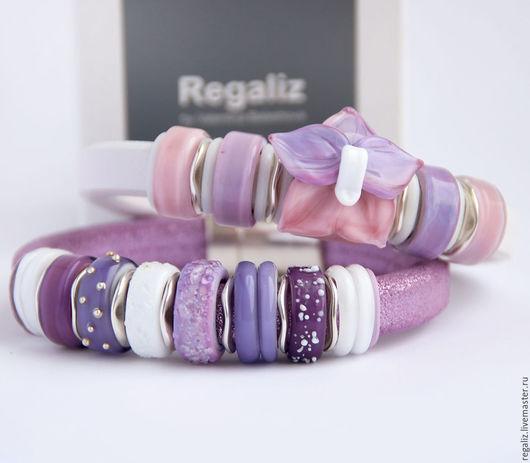 """Браслеты ручной работы. Ярмарка Мастеров - ручная работа. Купить Комплект браслетов """"Lilac"""". Handmade. Регализ, браслет регализ"""