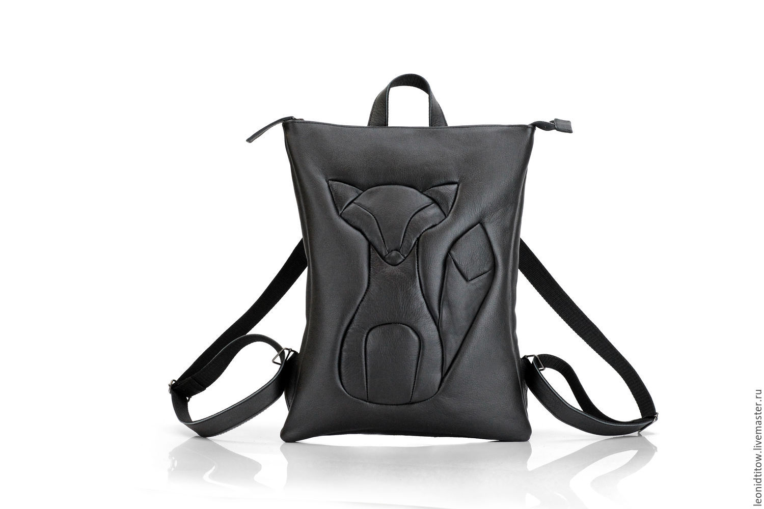 Black Leather Backpack with Applique Fox, Backpacks, St. Petersburg,  Фото №1