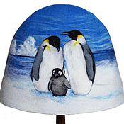 """Для дома и интерьера ручной работы. Ярмарка Мастеров - ручная работа Шапка для бани """"Пингвины"""". Handmade."""