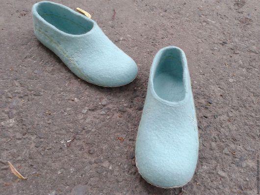 """Обувь ручной работы. Ярмарка Мастеров - ручная работа. Купить Тапочки """"Мятные строчки"""" 40 размер. Handmade. Мятный"""