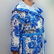 Одежда ручной работы. Ярмарка Мастеров - ручная работа Халат с капюшоном вафельный женский. Handmade.