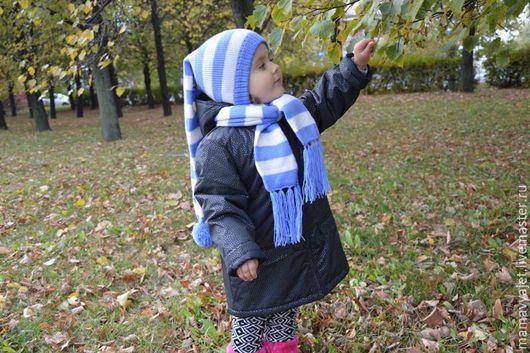 Шапки и шарфы ручной работы. Ярмарка Мастеров - ручная работа. Купить Детский вязаный комплект, шапка и шарф, комплект шапка-буратино и шарф. Handmade.