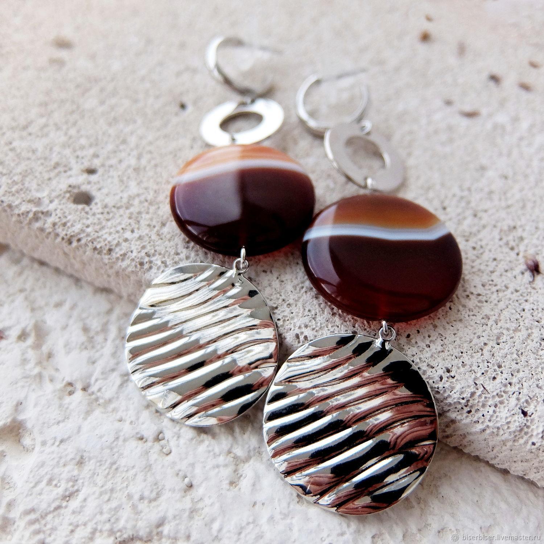 Earrings with agat, Stud earrings, Moscow,  Фото №1