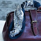 """Аксессуары handmade. Livemaster - original item Черно белый  шейный платок из атласа  """"Узор"""". Handmade."""