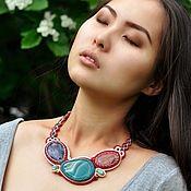 Украшения handmade. Livemaster - original item Soutache necklace `Serenity` with gemstones burgundy green beige. Handmade.