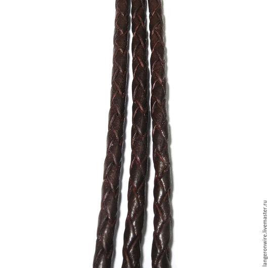 Для украшений ручной работы. Ярмарка Мастеров - ручная работа. Купить Шнур кожаный плетеный 2,5 мм. Цвет - коричневый. Handmade.