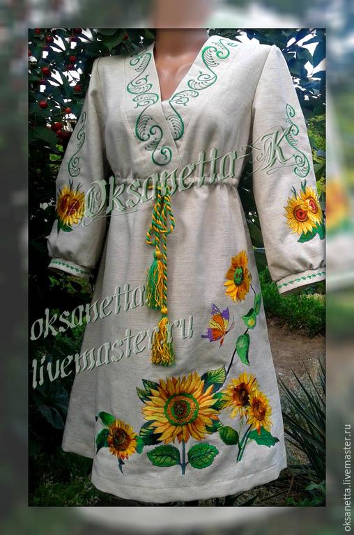 """Вышитое платье-туника """"Цветы солнца"""", Платья, Запорожье,  Фото №1"""