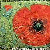 """Картины и панно ручной работы. Ярмарка Мастеров - ручная работа Валяное панно """"Маков цвет"""". Handmade."""