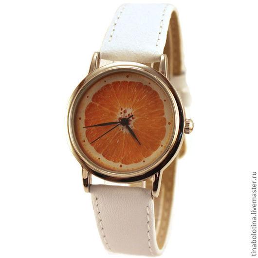 Часы ручной работы. Ярмарка Мастеров - ручная работа. Купить Дизайнерские наручные часы Апельсин. Handmade. Часы с апельсином