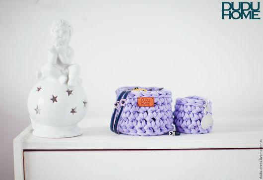 """Корзины, коробы ручной работы. Ярмарка Мастеров - ручная работа. Купить Набор вязаных корзинок для украшений """"Лаванда"""". Handmade."""