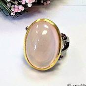 Rings handmade. Livemaster - original item Large silver ring with rose quartz, size 17,5. Handmade.