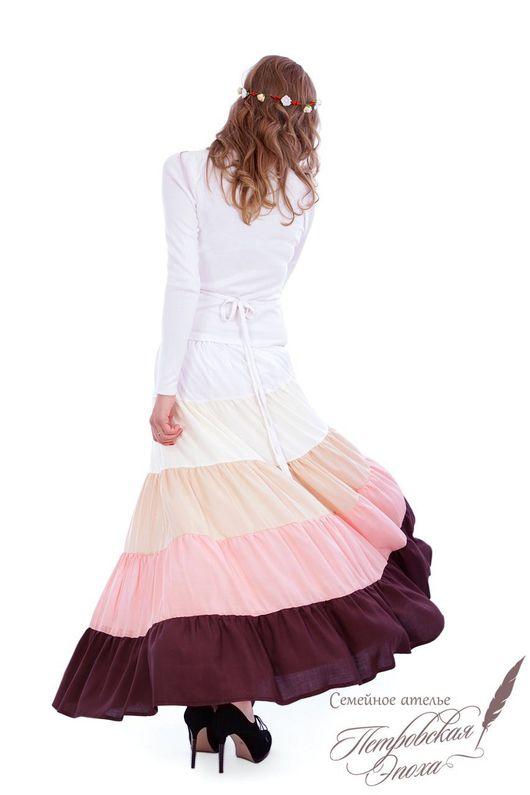 """Юбки ручной работы. Ярмарка Мастеров - ручная работа. Купить Летняя ярусная юбка """"МЕЧТА""""шоколадная. Handmade. Летняя юбка"""