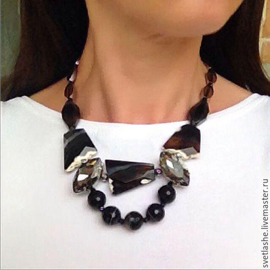 Колье оригинальное черное из Агата бусы купить украшение на шею из натуральных камней