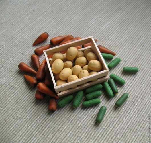 Миниатюра ручной работы. Ярмарка Мастеров - ручная работа. Купить Картофель, морковь, огурец 1:12. Handmade. Миниатюра, для кукол, морковь