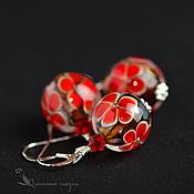 Украшения handmade. Livemaster - original item Jewelry set Red flowers 925 sterling silver lampwork pendant earrings. Handmade.