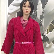 Одежда ручной работы. Ярмарка Мастеров - ручная работа Пальто вязаное малиновое. Handmade.