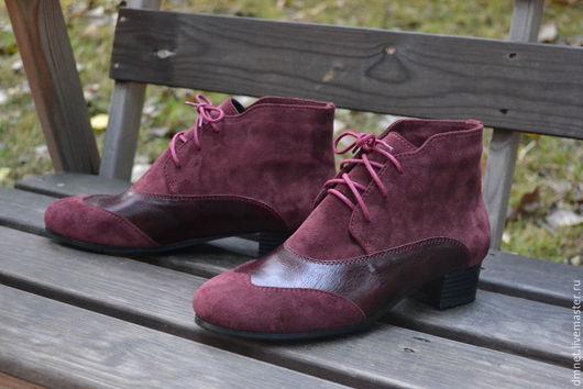 Обувь ручной работы. Ярмарка Мастеров - ручная работа. Купить Ботиночки бордовые на байке. Handmade. Бордовый, натуральная кожа