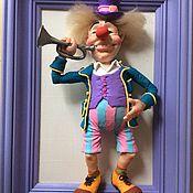 """Для дома и интерьера ручной работы. Ярмарка Мастеров - ручная работа Кукла  в раме""""Клоун с трубой"""". Handmade."""