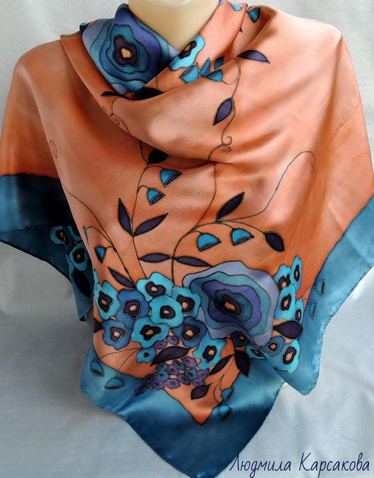 Шарфы и шарфики ручной работы. Ярмарка Мастеров - ручная работа. Купить Батик платок Вдохновение. Handmade. Цветочный, ручная работа