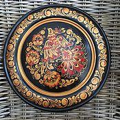 Русский стиль handmade. Livemaster - original item A plate of wood with Khokhloma painting Bird singing. Handmade.