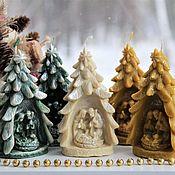 Свечи ручной работы. Ярмарка Мастеров - ручная работа Свеча Елка рождественская. Handmade.