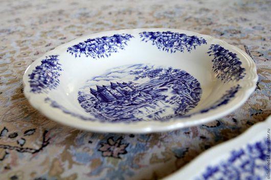 Винтажная посуда. Ярмарка Мастеров - ручная работа. Купить антикварный набор тарелок с изображением замка. Handmade. Синий, антиквариат