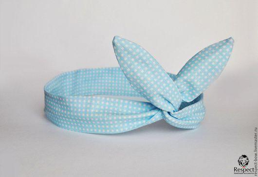 Повязки ручной работы. Ярмарка Мастеров - ручная работа. Купить Повязка на голову в стиле пин-ап голубая в белую клетку, солоха. Handmade.