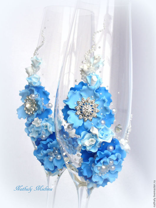 Свадебные аксессуары ручной работы. Ярмарка Мастеров - ручная работа. Купить Свадебные бокалы. Handmade. Голубой, голубая свадьба