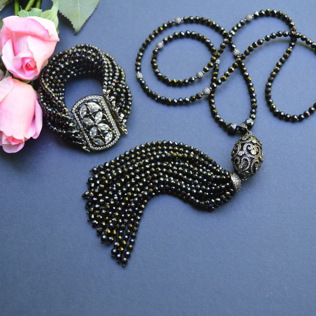Sotuar Necklace with a tassel Black Spinel BLACK PRINCE natural stones, Necklace, Moscow,  Фото №1
