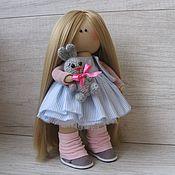 Тыквоголовка ручной работы. Ярмарка Мастеров - ручная работа Текстильная кукла ручной работы в розово-голубом. Handmade.