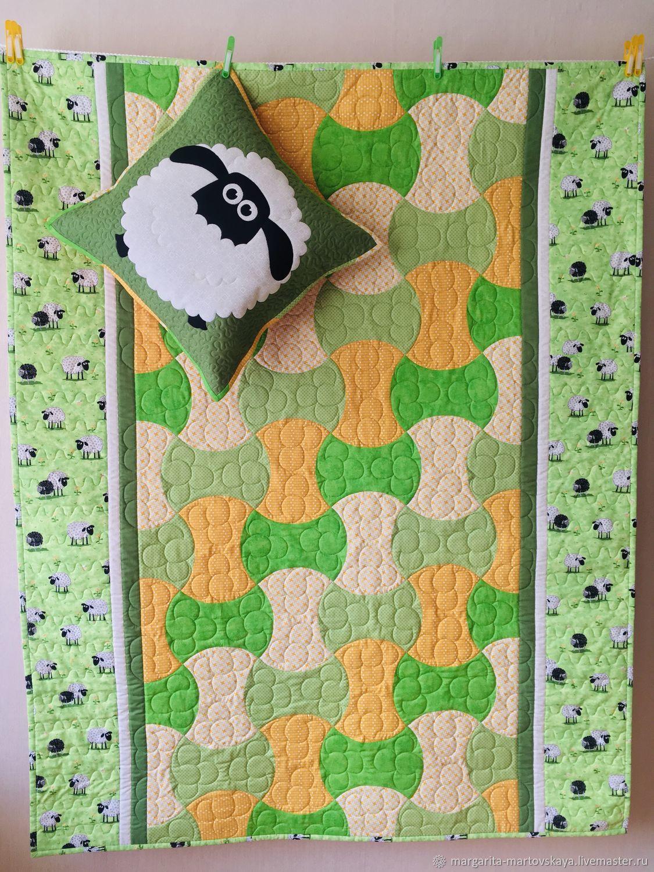 Одеяло и наволочка в лоскутной технике (пэчворк) для ребенка, Одеяла, Донской,  Фото №1