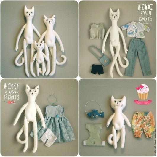 Игрушки животные, ручной работы. Ярмарка Мастеров - ручная работа. Купить Кот, Кошечка и Котёнок - котосемья. Handmade. Белый, котенок