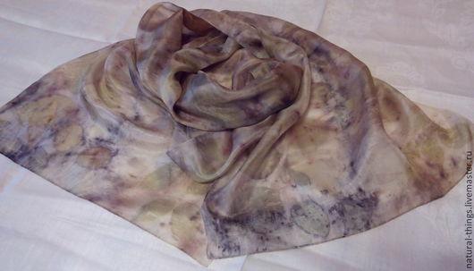 """Шарфы и шарфики ручной работы. Ярмарка Мастеров - ручная работа. Купить Шелковый шарф """"Предвкушение"""" эко принт. Handmade."""