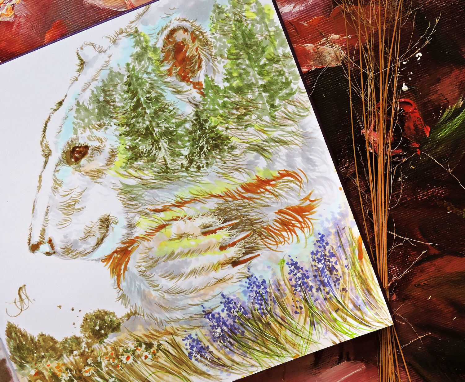 Keeper of the forest - painting on paper, Pictures, Moscow,  Фото №1