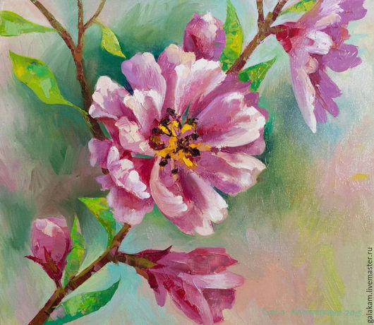 """Картины цветов ручной работы. Ярмарка Мастеров - ручная работа. Купить """"Цветущая вишня"""". Handmade. Масло, Живопись, картина"""