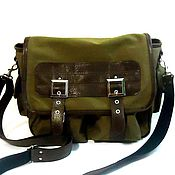 Сумки и аксессуары handmade. Livemaster - original item Men`s bag messenger leather with textiles STUDENT. Handmade.