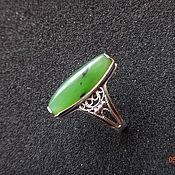 Винтажное кольцо с нефритом, серебро 875, звезда, СССР