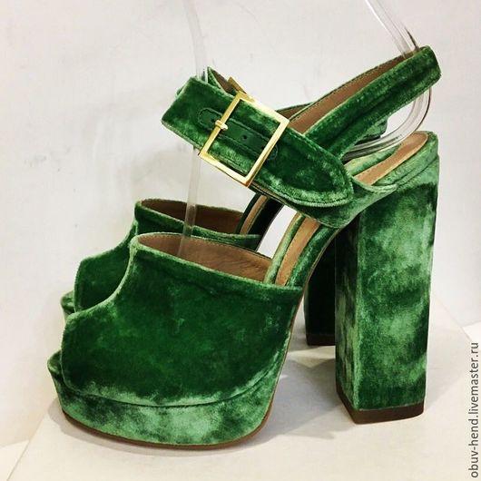 Обувь ручной работы. Ярмарка Мастеров - ручная работа. Купить Босоножки из велюра.. Handmade. Зеленый, босоножки из кожи питона