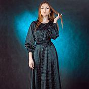handmade. Livemaster - original item Dress black white polka dots, satin, fancy,