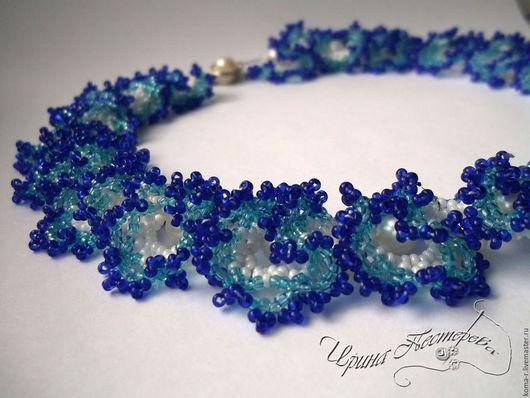 Колье, бусы ручной работы. Ярмарка Мастеров - ручная работа. Купить Ожерелье из бисера Синяя огалала. Handmade. Комбинированный
